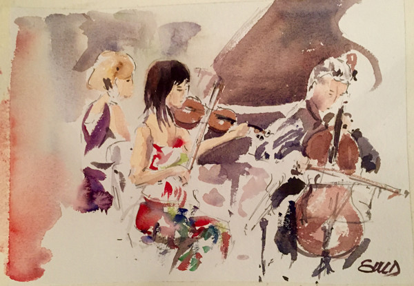 This portrait of Trio Latitude 41 was done by Emanuele Dufour during the ensemble's performance in Madrid. The original watercolor will remain at the concert venue where they have framed his work from other concerts.